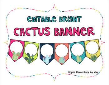 Editable Bright Cactus Banner