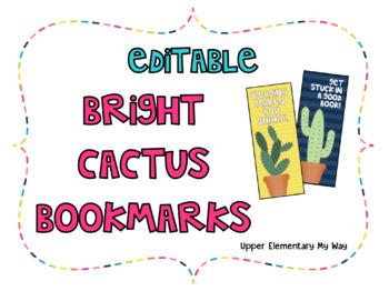 Editable Bright Cactus Bookmarks
