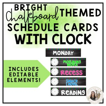 Editable Bright Chalkboard Schedule Cards with Clock