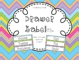 Editable Bright Chevron Drawer Labels - File, Copy, Grade, Days of Week