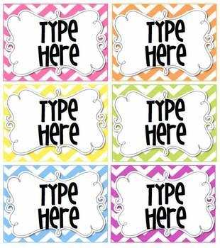 Editable Bright Chevron Tags/ Labels- 6 classroom labels i