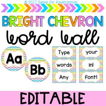 Editable Bright Chevron Word Wall