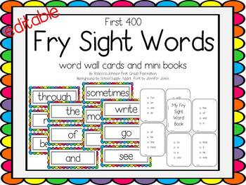 Editable Bright Colors Fry Sight Words pack