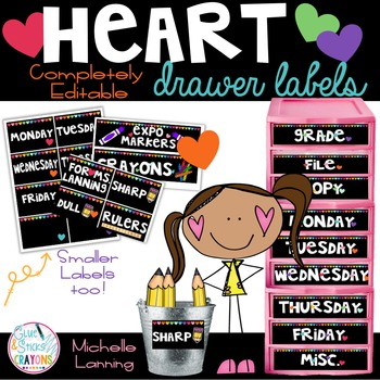 Editable Bright Heart Drawer Labels