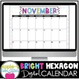 Editable Bright Hexagon Calendar - Teacher/Parent Monthly