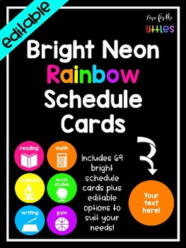 Editable Bright Neon Rainbow Schedule Cards
