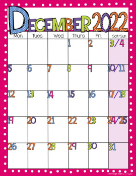 Editable FREE Bright Polka Dot Monthly Calendars 2017-2018 | TpT