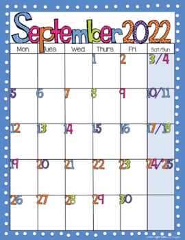 Editable FREE Bright Polka Dot Monthly Calendars 2019-2020
