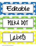 Labels Editable Bright Polka Dots (clip art images)