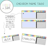 Editable Bright Rainbow Chevron Desk Name Tags with Multiplication Chart