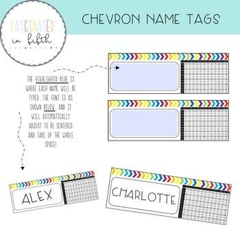 Editable Bright Rainbow Chevron Desk Name Tags with Multiplication Chart