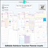 "Editable Bright Rainbow Undated Teacher/Homeschool Planner Printable - 8.5x11"""