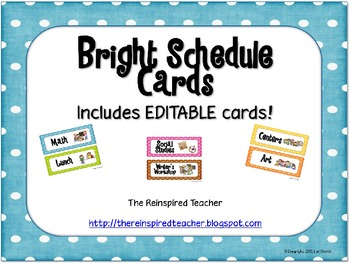 Editable Bright Schedule Cards