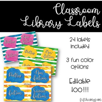 Editable Bright Stripes Classroom Library Labels