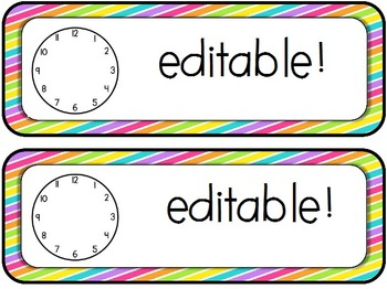 Editable Bright Stripes Schedule Cards
