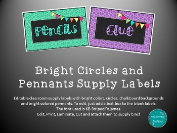 Editable Bright Supply Bin Labels