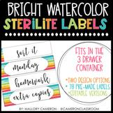 Editable Bright Watercolor Sterilite Labels