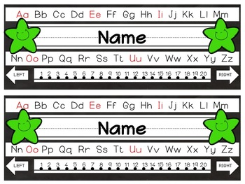 Editable Bright and Bold Stars Nameplates