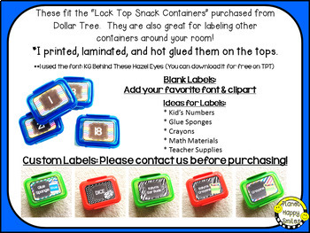 "Editable Brights Labels ~ Labels for the ""Snack Containers"" from Dollar Tree"