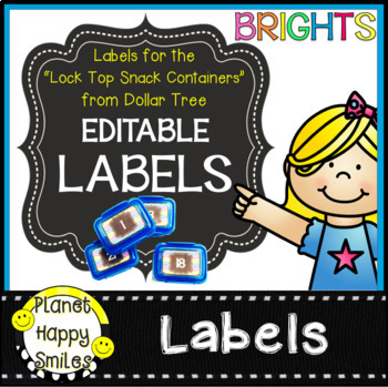 """Editable Brights Labels ~ Labels for the """"Snack Containers"""