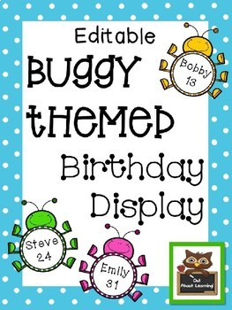 Editable Bug Themed Birthday Display!