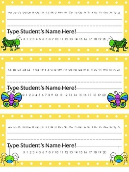 Editable Bug/Insect Themed Name Plates w/Alphabet and Numbers 0 - 20!