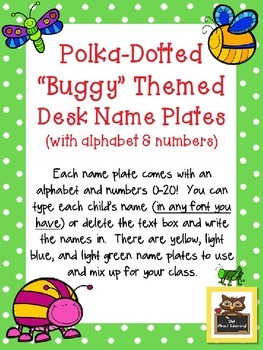 Editable Bug/Insect Themed Name Plates w/Alphabet and Numb