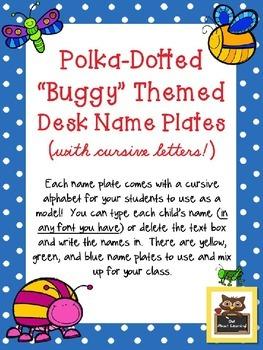 Editable Bug/Insect and Polka Dot Desk Name Plates with Cu