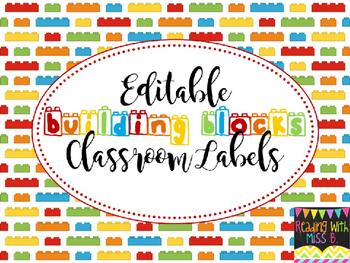 """Editable """"Building Blocks"""" Classroom Labels"""