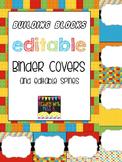 "Editable ""Building Blocks"" Portrait-Orientation Binder Cov"