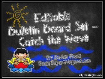Editable Bulletin Board Catch the Wave!