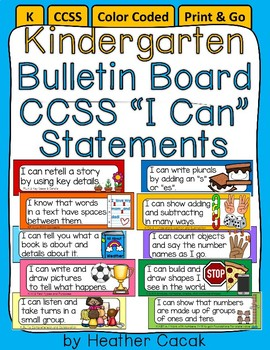"Editable Bulletin Board ""I Can"" Target Statement Cards {CCSS Kindergarten}"