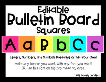 Editable Bulletin Board Letters and Numbers Squares - Create Your Decor