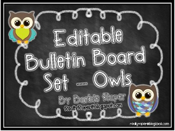 Editable Bulletin Board Owls - Chalkboard Style