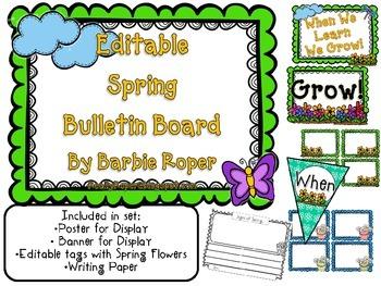 Editable Bulletin Board Spring Set