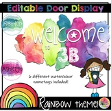 Editable Bulletin Board and Door Display - Rainbow Watercolors