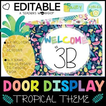 Tropical Watercolor Theme - Editable Bulletin Board and Door Display Bundle