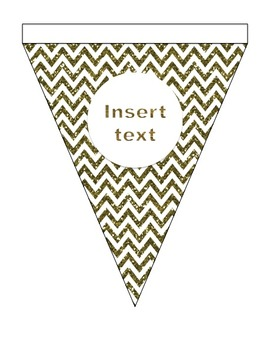Editable Bunting - Metallic Gold - Add your name and message - Black and Gold