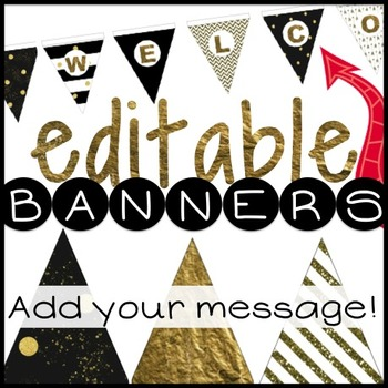 Editable Bunting - Metallic Gold - Add your name and messa