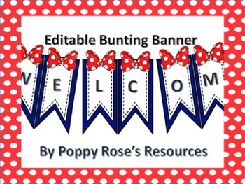 Editable Bunting Banner - Polka Dots and Bows