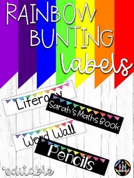 Editable Bunting Labels - Rainbow