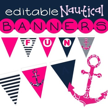 Editable Bunting - Nautical - Add your name and message - Pink and Navy