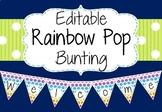 Editable Bunting - Rainbow Pop Style