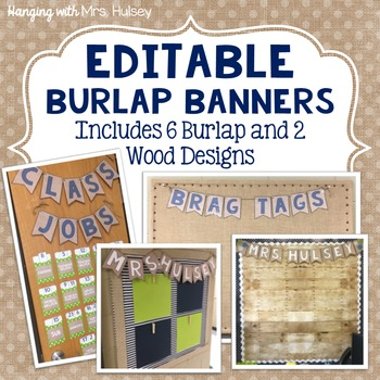 Editable Burlap Banners