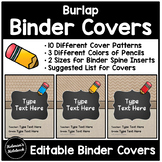 Editable Burlap Binder Covers