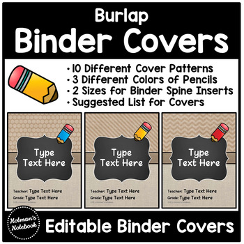 Editable Burlap Binder Covers