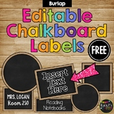 Editable Burlap & Chalkboard Labels {15 Different Labels} FREEBIE