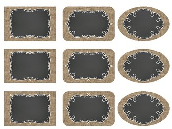 Editable Burlap & Chalkboard Labels