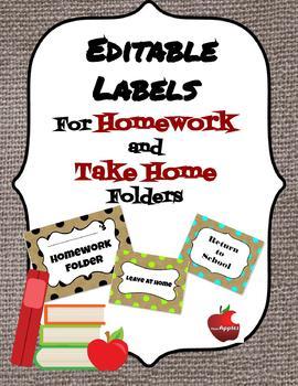 Editable Burlap Return to School/Leave at Home Labels for Homework Folders