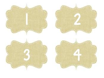 Editable Burlap Table Numbers
